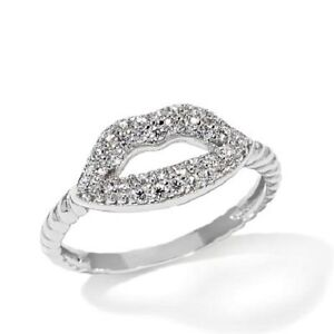 STERLING-SILVER-SIMULATED-DIAMOND-KISS-STACK-LIPS-ETERNITY-BAND-RING-6-NEW-FINE