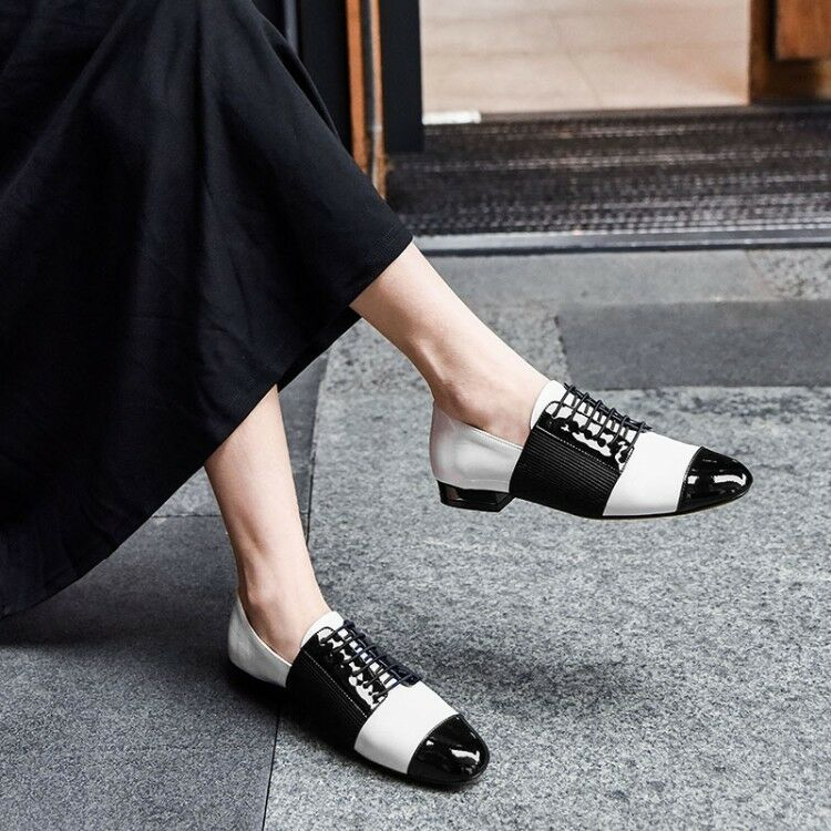 Wouomo Patent Leather Coloreeeeblock Oxfords Round Toe Casual Low Heel Casual scarpe