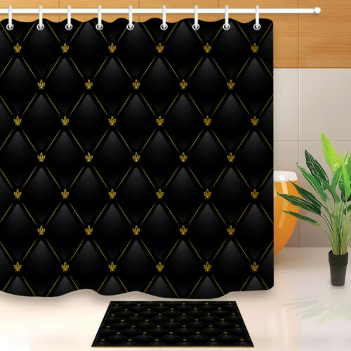 Black Leather with Gold Fabric Shower Curtain Set Bathroom Accessories Liner New