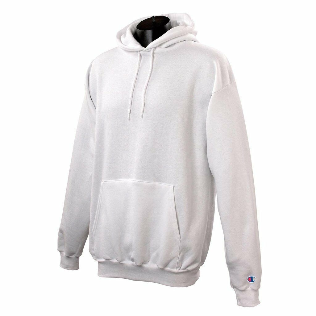 NEW WHITE CHAMPION REVERSE WEAVE HOODIE W  LOGO ON SLEEVE MEDIUM NO DEFECTS