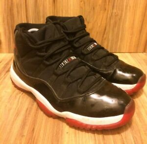 Details about NIKE Air Jordan 11 Retro Bred BlackVarsity Red White 378037 010 SZ 10.5
