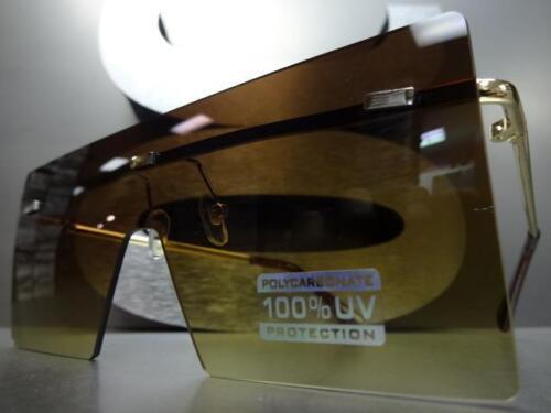 CLASSIC RETRO Flat SHIELD VISOR Style SUN GLASSES Gold Metal Frame Honey Lens