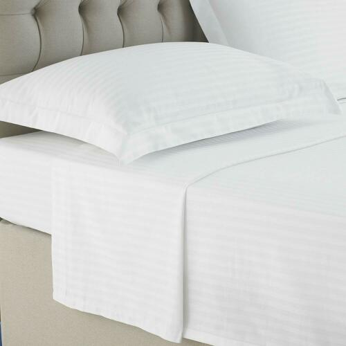 LUXURY FLAT SHEET SATIN STRIPE 100/% EGYPTIAN COTTON TOP HOTEL QUALITY BED SHEETS