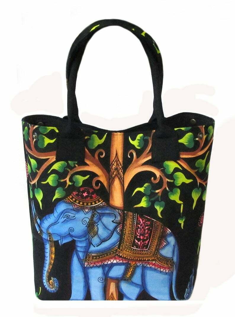 Neu Pinsel Malerei Elefant Indian Mandala Handtasche Damen Beutel Tragetasche