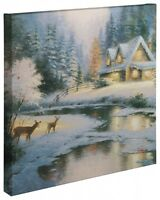 Thomas Kinkade Wrap - Deer Creek Cottage 20 X 20 Wrapped Canvas