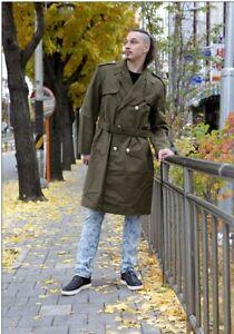 Vintage Soviet Era Bulgarian wool  winter Army Trenchcoat Greatcoat Communist trench coat overcoat