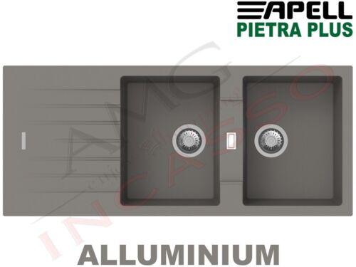 Lavello Fragranite Incasso New Pietra Plus 2 Vasche cm.116X50 Aluminium