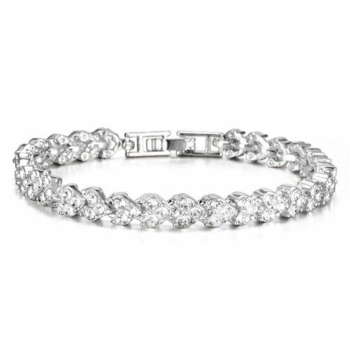 Women Crystal Zircon Bracelet Bangle Wedding Bridal Wristband Charm Jewelry Gift
