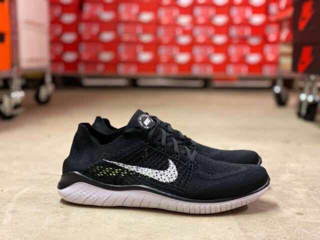 Nike Free RN Run Flyknit 2018 Mens Running Shoes Black White 942838 001 Multi Sz