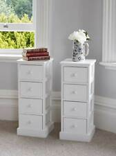 Pair Of Tall White Wooden Four Drawer Cabinets Bedside Tables Tallboy Unit Stora