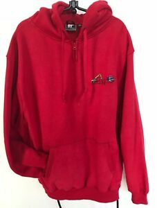 White-Bear-Clothing-Red-Pullover-Hoodie-3-034-Zip-Heavyweight-Mint-Men-L-Oversized