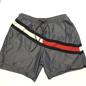 0020794192994 Tommy Hilfiger Men's Color Block Flag Swim Trunks Blue White Red ...
