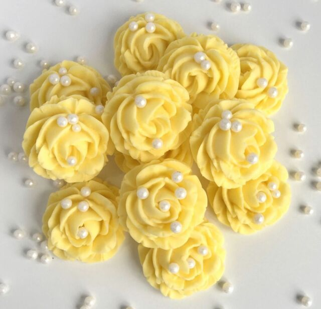 Pastel Yellow Roses & Pearls Sugar Edible Flowers Wedding Cake ...