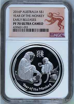 2016 P Australia GILDED Silver Lunar Year of the Monkey NGC MS 69 1 oz Coin ER