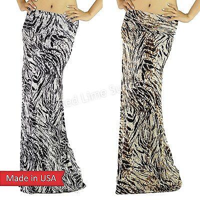 New Animal Camo Camouflage Tiger Zebra Leopard Print Color Long Maxi Skirt USA