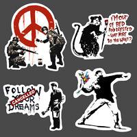 4x Banksy Sticker set vinyl graffiti street art stencil car bmx skate decal rat