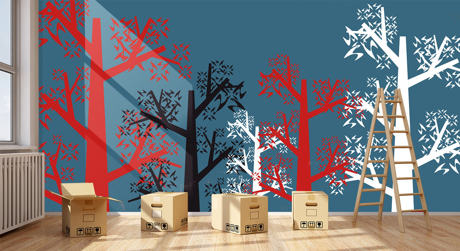 3D Tree Silhouette 834 Wallpaper Mural Paper Wall Print Wallpaper Murals UK
