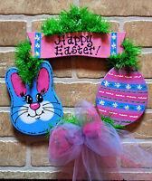 Easter Wreath Wall Door Hanging Hanger Rabbit Bunny Egg Sign Spring Wood Decor