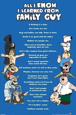 FAMILY GUY ~ CAST ALL I KNOW LEARNED FROM 24x36 CARTOON POSTER NEW//ROLLED!