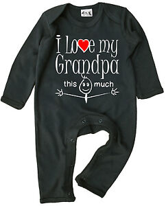 "Grandad Baby Clothes ""I Love My Grandpa This Much"" Baby Romper Suit Grandfather"
