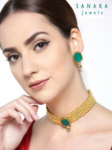 Indian Bollywood Green Pearl Choker Necklace Earrings Traditional Jewelry Set