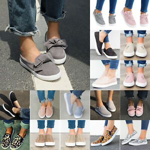 Women-Loafers-Flats-Shoes-Plimsoll-Pumps-Round-Toe-Casual-Slip-On-Sneakers-Size