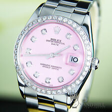 Rolex Oyster Date 15200 14K WG 0.95CT Diamond Bezel Ice Pink Ladies 34mm