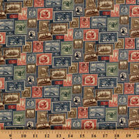 Vintage Travel Postage Stamps Antique Blue Cotton Fabric Print By Yard D475.06