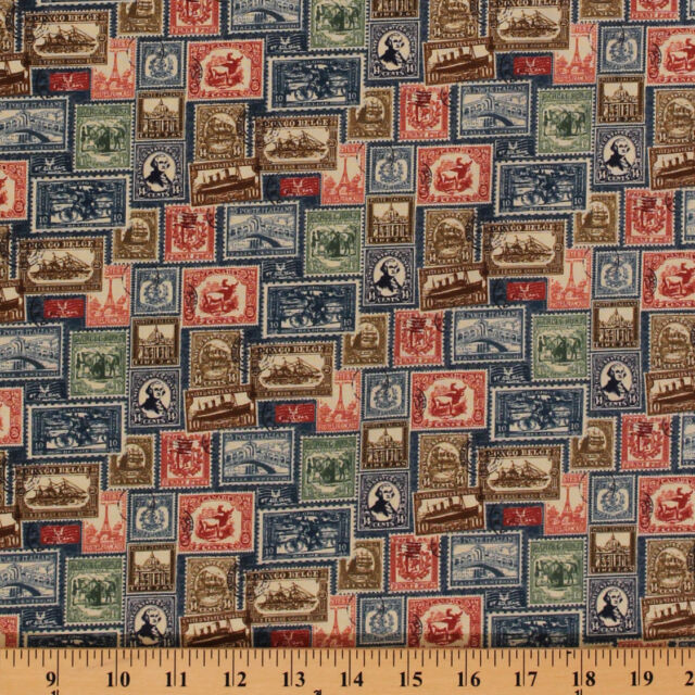 Vintage Travel Postage Stamps Antique Blue Cotton Fabric Print By Yard D47506
