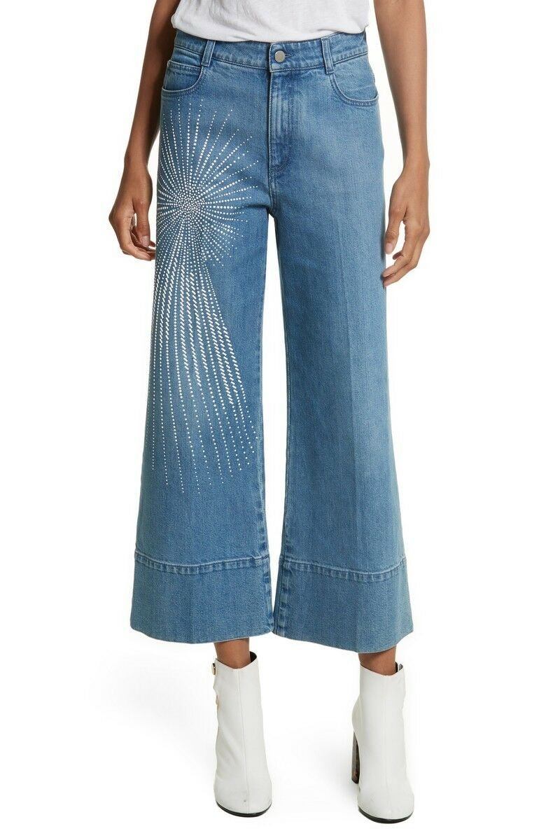 NWT STELLA MCCARTNEY Studded DENIM CULOTTES PANTS Größe 25, US 2
