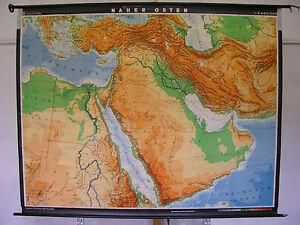 Stumme Karte Naher Osten.Details Zu Schulwandkarte Map Naher Osten Arabien Syrien Irak Iran Turkei 227x180cm 1972