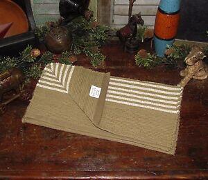 Primitive-Antique-Vtg-Style-White-Stripe-Cotton-COVERLET-RUNNER-67TWSR