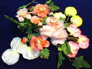 Vintage Chapellerie Fleur Collection Rose Blanc Jaune 1 3/10.2-7.6cm Allemand W/