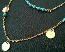 18ct Gold Plated 2 Layer Disc Circle Faux Turquoise Pendant Chain Necklace 132