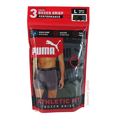 Puma Men's DryCELL Athletic Fit Boxer Briefs, Size Large L 36