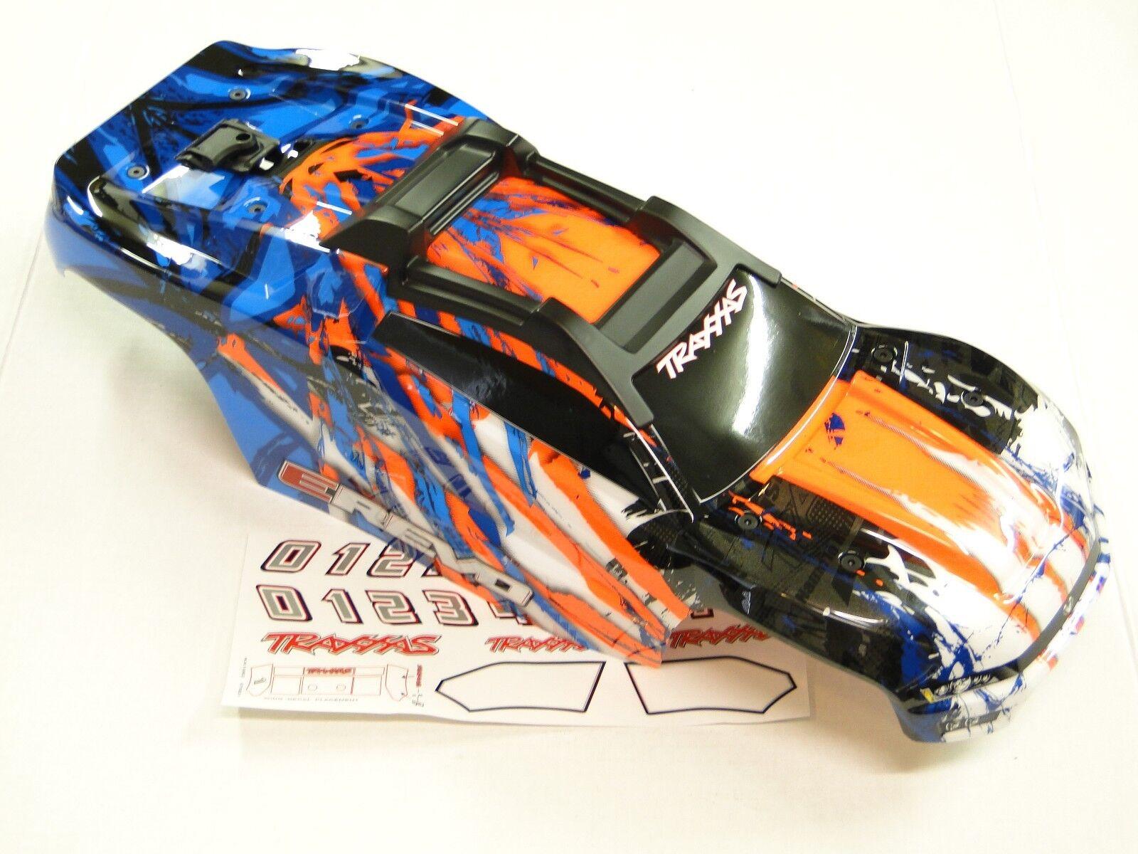 NEW TRAXXAS E-REVO 2.0 VXL 1/10 Body Factory Painted arancia /bianca Cliples RRE6O