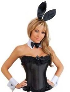 649006173 Image is loading Playboy-Bunny-Costume-Black-Corset-Bunny-Accessories-Great-