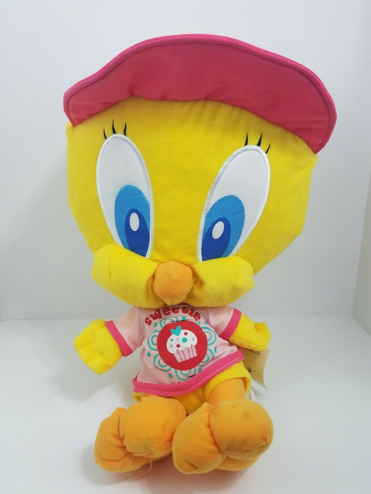 Warner Bredhers Tweety Looney Tunes Pink Cap Hat Plush Doll Nanco Rare