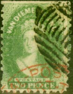 Tasmania-1864-2d-Yellow-Green-SG60-P-10-Good-Used