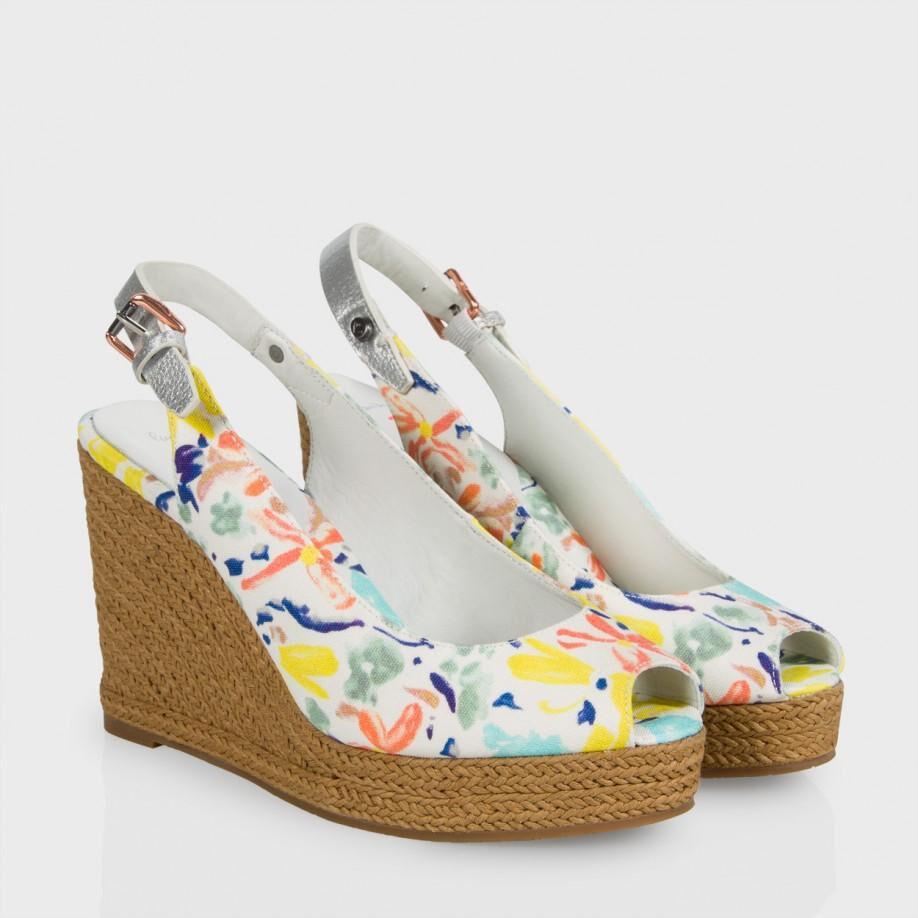 nuovo stile Paul Paul Paul Smith Beta Tronco bianca Floral Wedge Sandals Sz 39 NIB  375.00  risposta prima volta