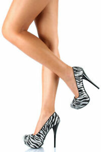 Charlotte-Russe-Zebra-Striped-Almond-Toe-Platform-High-Heel-Stiletto-Pump-Size-6