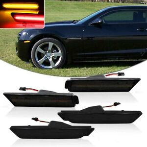 Details about Smoked Lens Front Amber Rear Red LED Side Marker Lights For 10-15 Chevy Camaro