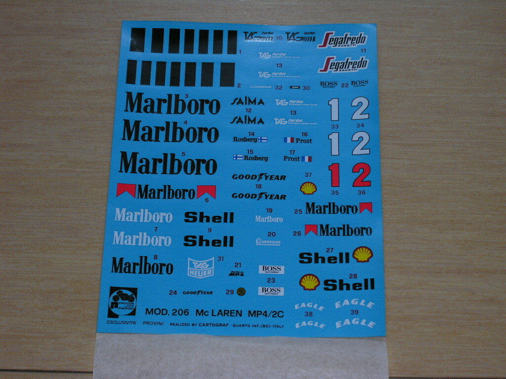 1 12 Predar Auditions McLaren Porsche mp4 4 Original Decals NEW