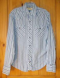 BDG Blue & Navy Blue Long Sleeve Cotton Pearl Snap Shirt, Mens S