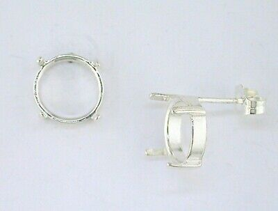 sterling pair 4mm round  cabochon earring mounting