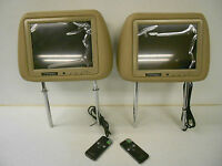 Custom Leather Headrest With 8 Inch Color Tft Monitor Universal Mount Pair Tan
