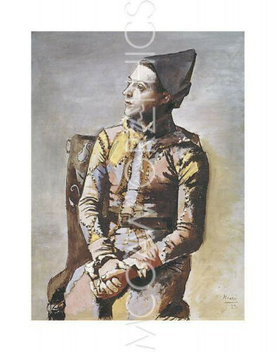 "PICASSO PABLO PORTRAIT OF A HARLEQUIN Artwork Reproduction 14/"" x 11/"" 490"