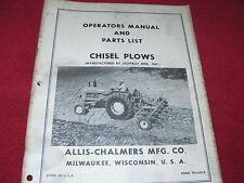 Allis Chalmers Chisel Plows Operators Amp Parts Book