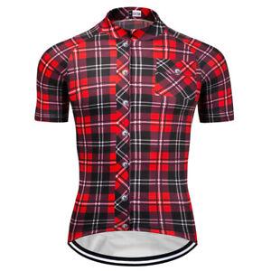 Mens-Short-Sleeve-Cycling-Jerseys-Bicycle-Team-Racing-Plaid-Shirt-Red-Full-Zip