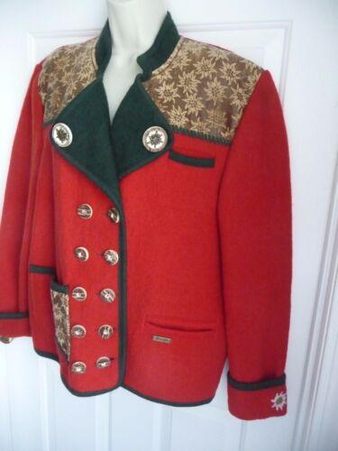 Bottoni Wool Austria Boiled Tipol Heavy ornati Wow Wesenjak Sweater Cardigan Red IwH0B8pq